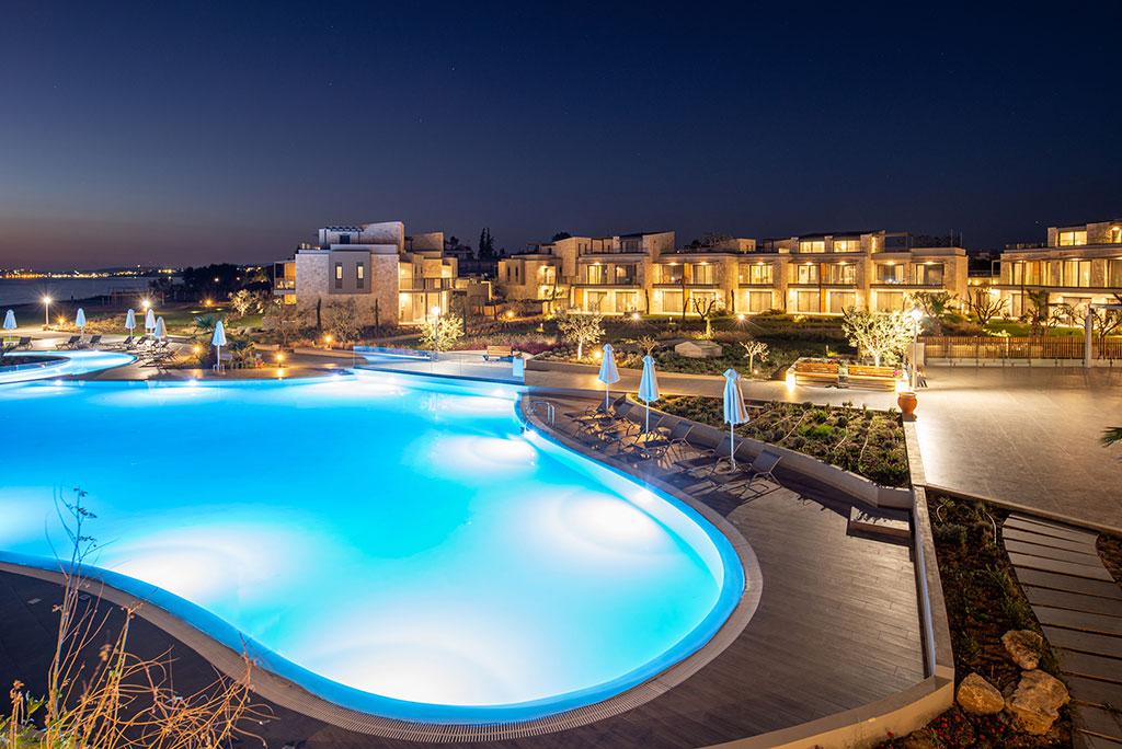 Grcka hoteli letovanje, Halkidiki, Potideai,Portes Lithos Luxury Resort,bazen noću