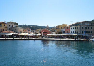 Paksos - Gaios - centralni trg, jonska obala apartmani, leto Grčka