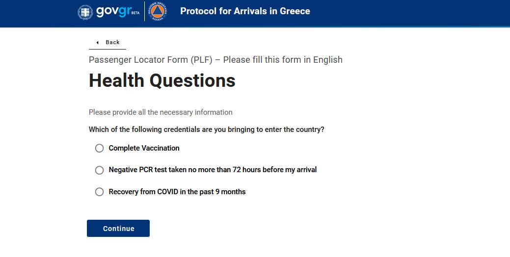 PLF obrazac, procedura ulaska u Grcku