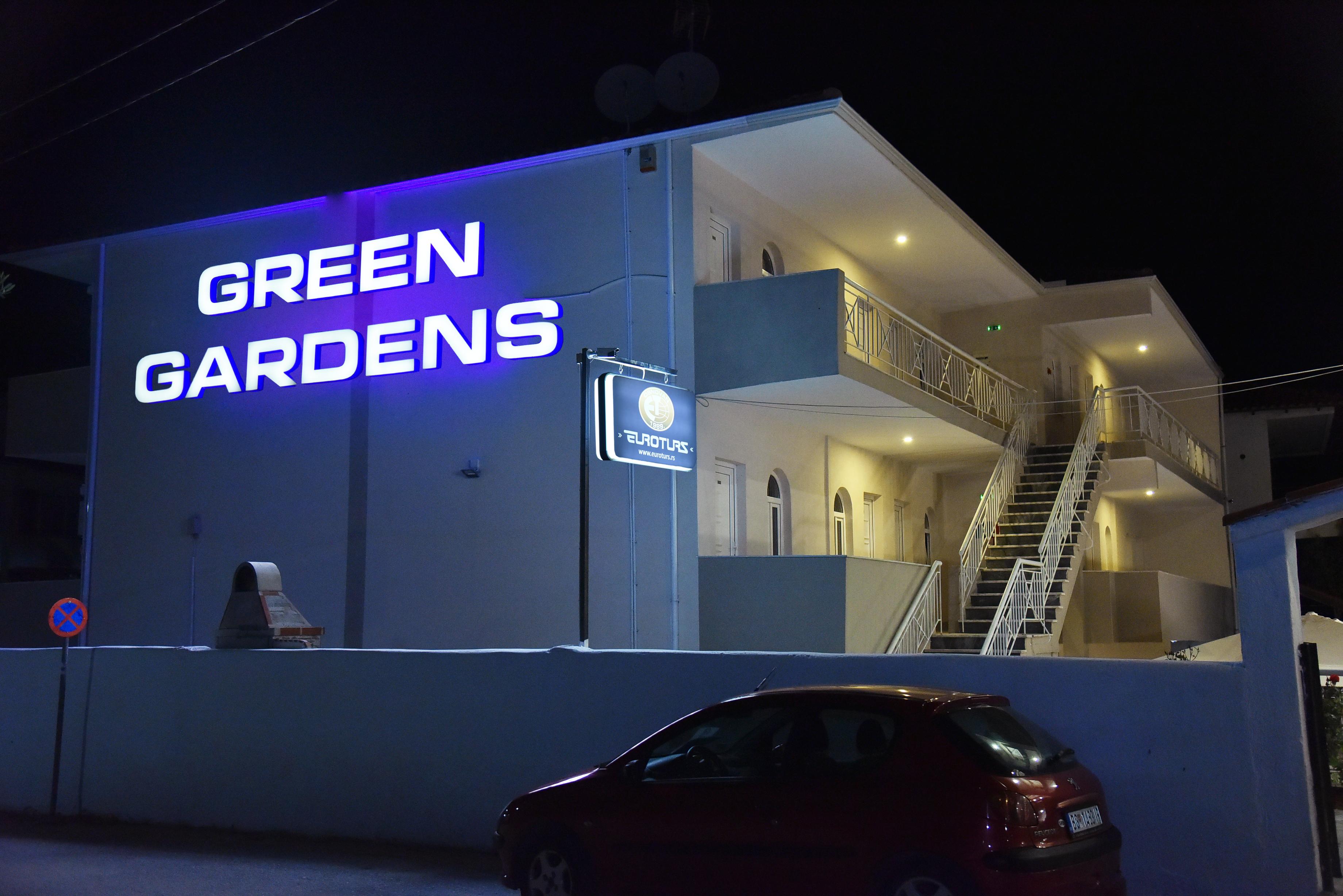 Grcka apartmani letovanje, Polihrono Halkidiki, Green Gardens, kuća A noću